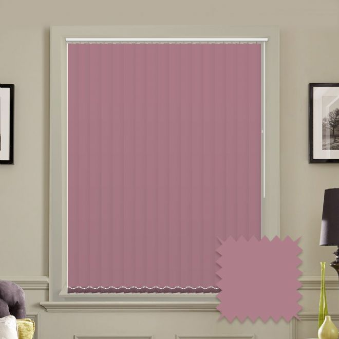 Made to measure vertical blinds in Splash Arcadia Pink plain fabric - Just Blinds